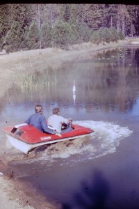 Scrambler at pond. Circa 1970